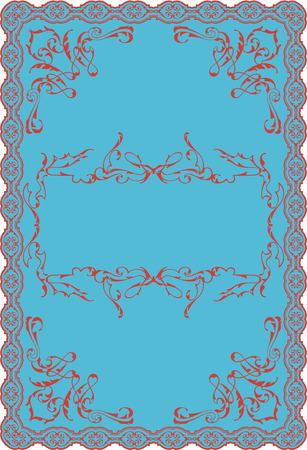 Nice blue baroque decor swirl art ornate page