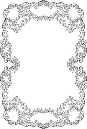 Art ornate swirl frame isolated on white Illustration