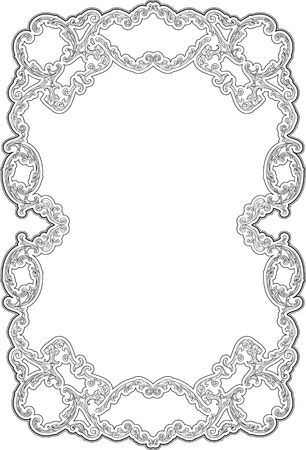 Art ornate swirl frame isolated on white Illustration
