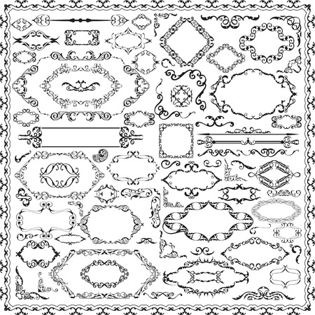 Luxury ornate baroque set is on white Illustration