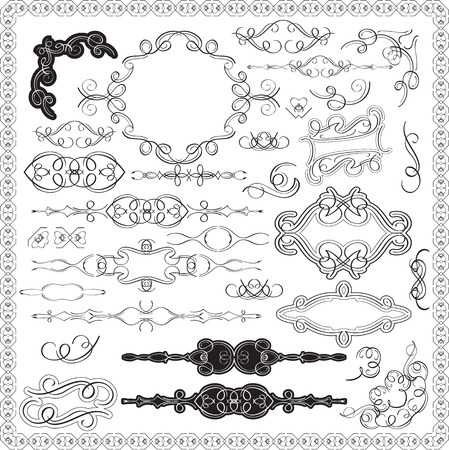 Ornate swirl victorian set is on white