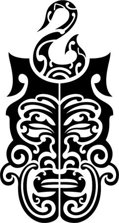 ko: Maori style black mask for tattoo