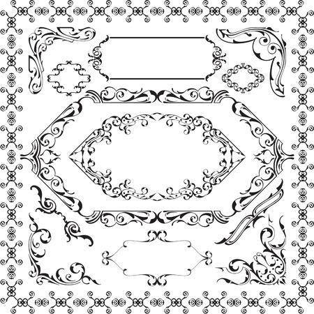 Set of ornane design elements isolated on white Illustration