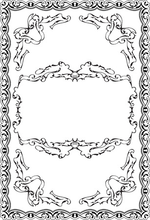 Cool baroque decor swirl art ornate page on white Illustration