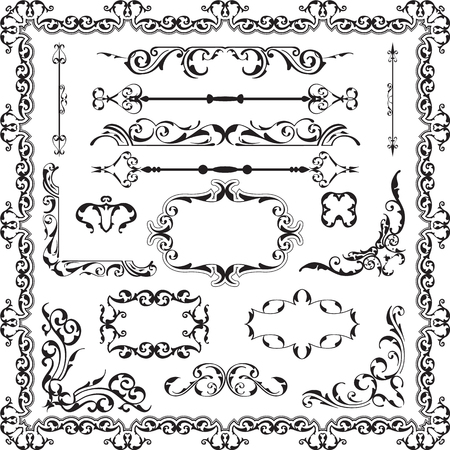Decor luxury art ornate set on white Illustration