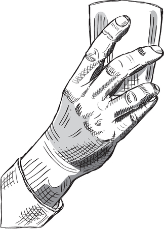 Hand with glass in engraving style Illustration