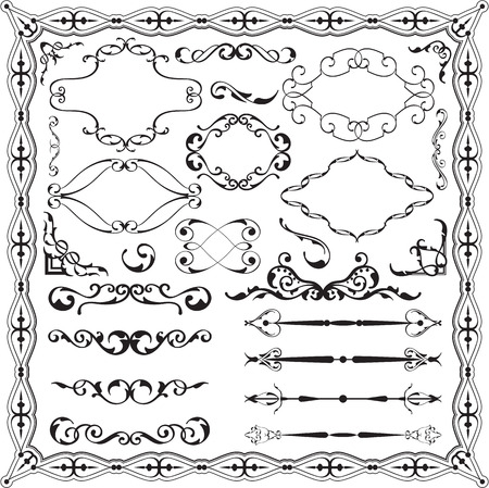 Baroque ornate swirl set is on white