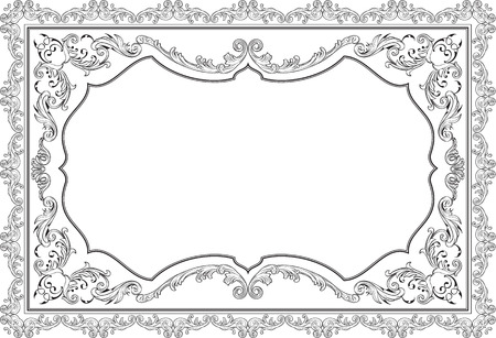 Baroque nice ornate page on white Illustration