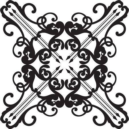 Ornate baroque black graceful rosette on white