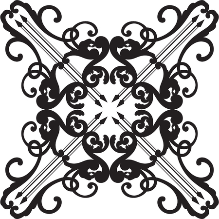 Ornate baroque black graceful rosette on white