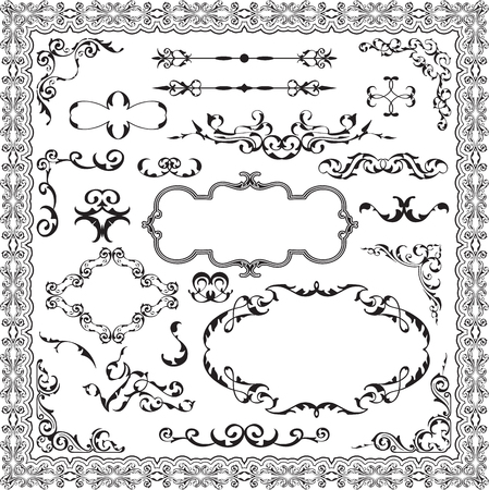 Luxury divide ornate set is on white