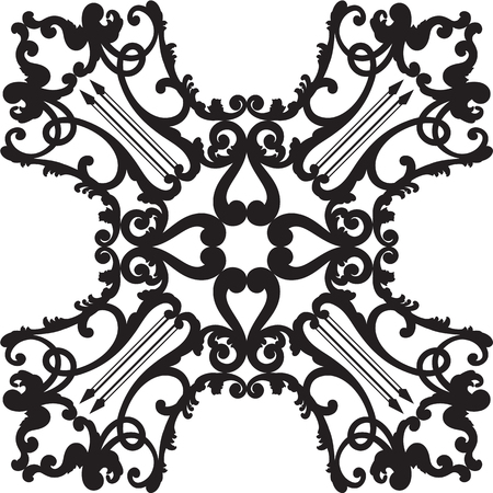 Rosette style art border is on white Illustration