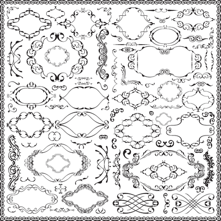 Ornate splendid baroque floral set is on white