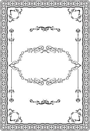 Nice baroque decor art frame on white Illustration