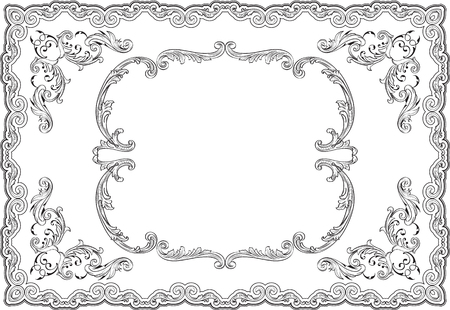 Baroque ornate swirl page on white