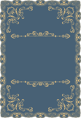 Gold baroque decor swirl art ornate page on blue