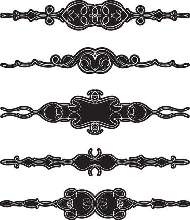 Ornate swirl divide line set is on white Illustration
