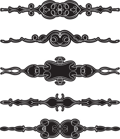 Ornate swirl divide line set is on white Illustration