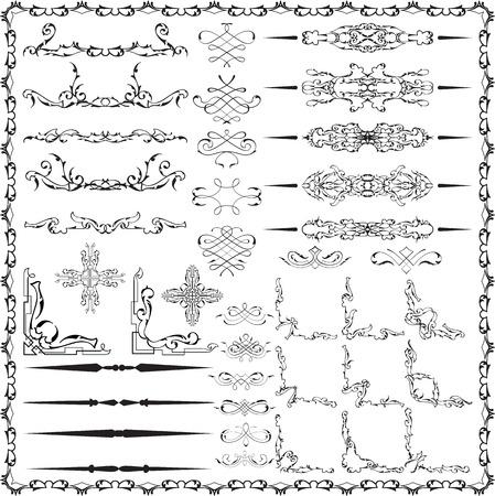 Set of luxury design elements is on white Illustration
