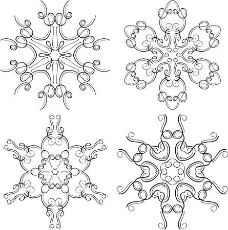 Victorian swirll snowflakes set