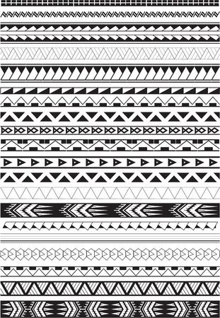 Maori brushes set in white Illustration