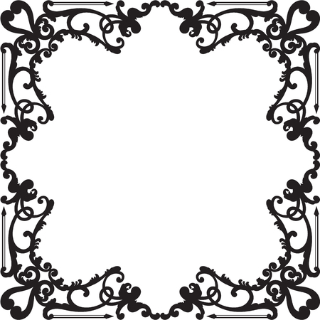Ornate baroque black border is on white Illustration