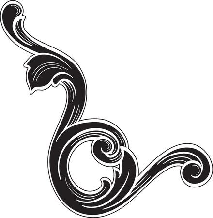 Acanthus design art fine element is on white Vetores