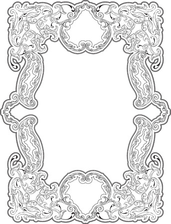 Art luxury swirl frame on white Illustration