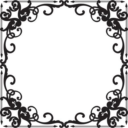 Ornate baroque black graceful border on white Illustration