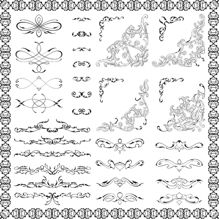 Ornate design elements set is on white