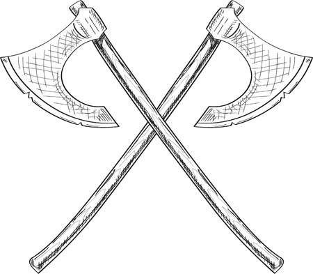 Crossing viking axe. Engrave style  イラスト・ベクター素材