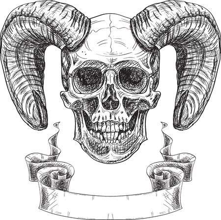 Inviting devil skull isolated on white Illustration