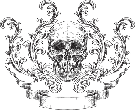 Acanthus and skull and ribbon isolated on white