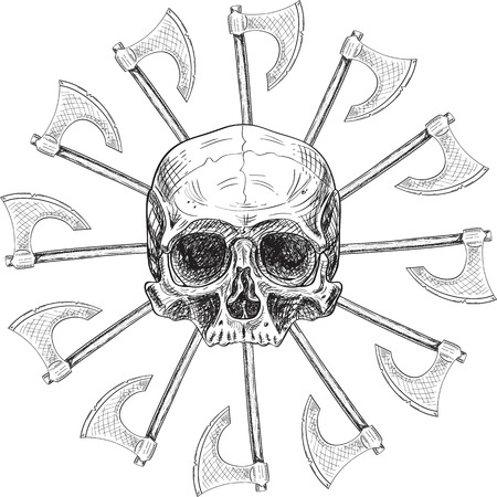 Skull and black sun in engraving style Illustration