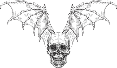 Skull and devil wings in engraving style
