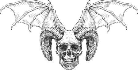 Devil skull isolated on white. Engraving style