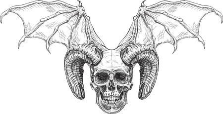 Devil skull isolated on white. Engraving style