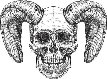 Devil skull. Art in engraving style
