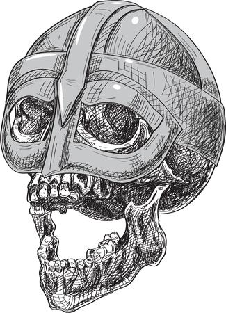 Side viking skull in helmet isolated on white