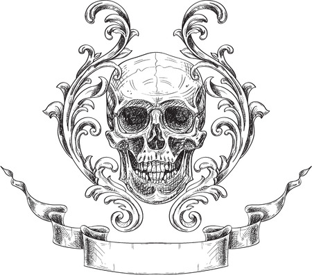 Acanthus and skull. Coat of arms in engraving style