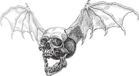 Flying skull side and wings. For the cool tattoo