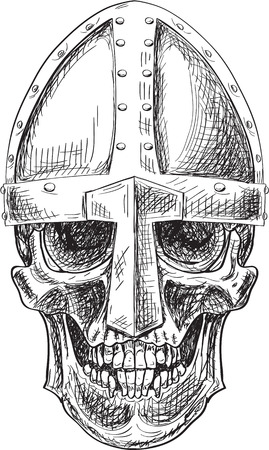 Skull in viking helmet isolated on white