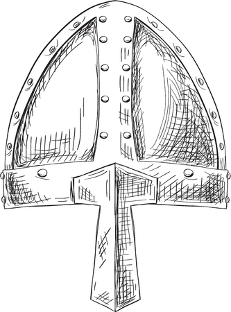 Viking helmet isolated on white Illustration