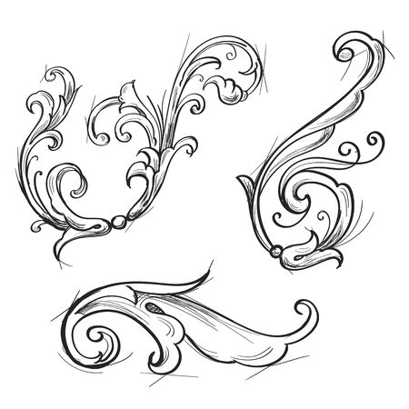 Acanthus set in sketch style