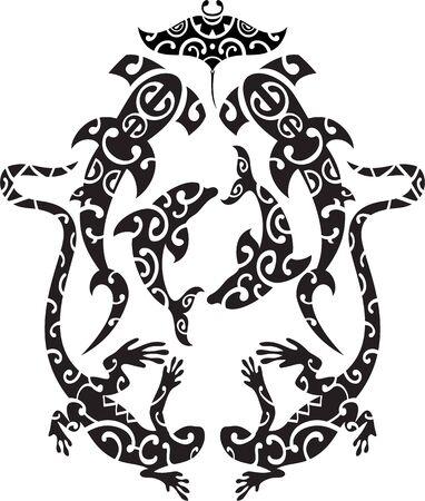 Maori tattoo design style isolated on white Vektorgrafik