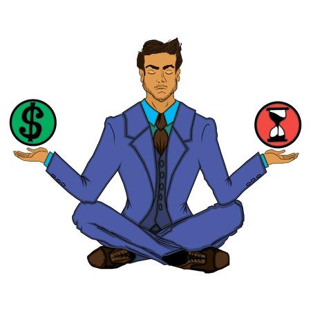 illustratie met zakenman en balans van tijd en geld Stock Illustratie