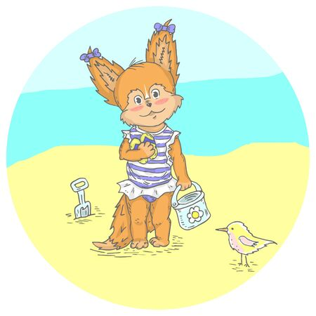 Illustration with cute little fox at the beach. Can be used for baby t-shirt print, fashion print design, kids wear, baby shower celebration greeting and invitation card. Illustration