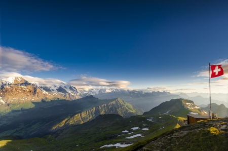 flagpoles: View from Faulhorn, Switzerland