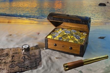 isla del tesoro: Cofre del tesoro Foto de archivo