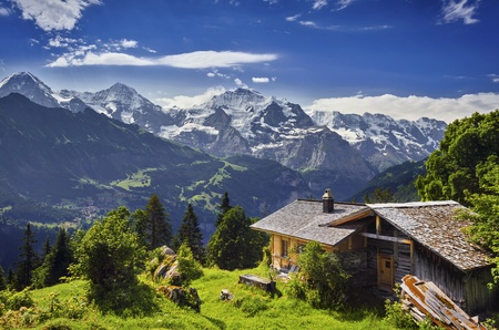 mountain hut: Heidiland Stock Photo